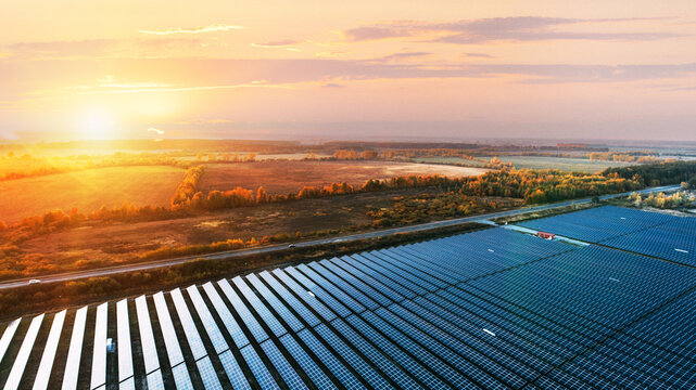 Solar panels in aerial view. Solar panels system power generators from sun