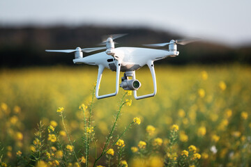 Wall Mural - drone quad copter on yellow field