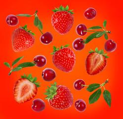 Fototapete - strawberry  on a festive bright background
