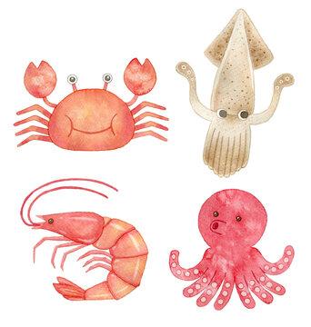イラスト素材:魚介類のセット