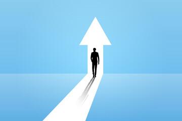 Fototapeta Business growth vector concept with man walking towards upwards arrow. Symbol of success, promotion, career development. obraz