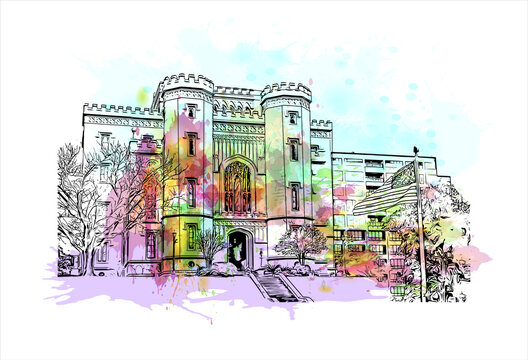 Building view with landmark of Baton Rouge is the capital of the U.S. state of Louisiana. Watercolor splash with hand drawn sketch illustration in vector.