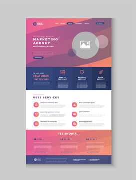 Business Website Landing Page | App Landing Page | Web User Interface Design | Web Wire-frame Template