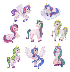Watercolor painting set of cute unicors