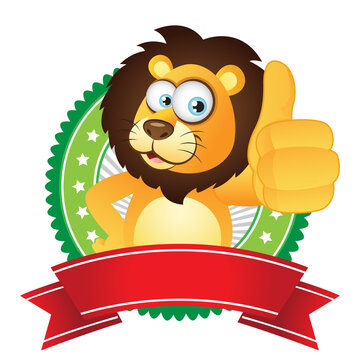 Cartoon Lion thumbs up with badge label