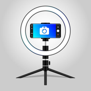Professional Photo Ring Light icon Photostudio Light with Led ring and stand Vector Illustration
