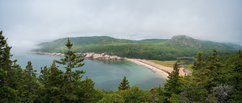 Panorama of Sand beach overlook from Great Head Trail in Acadia National Park