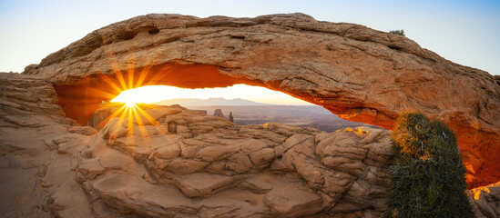 Panorama of Mesa Arch in Moab Utah at sunrise