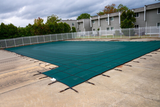 backyard swimming pool and closed down for winter