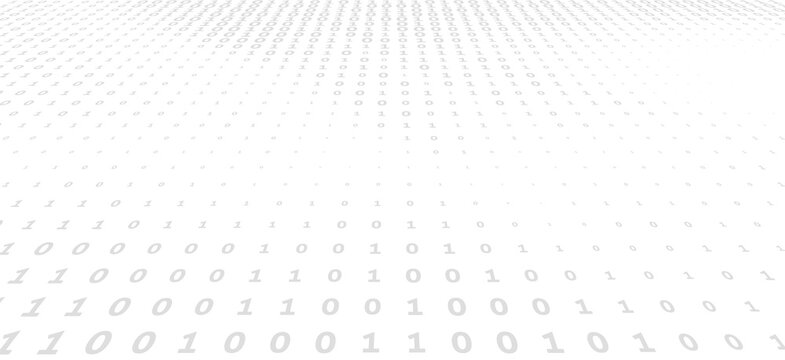 Binary code background with gray digits on a white. Vector graphics
