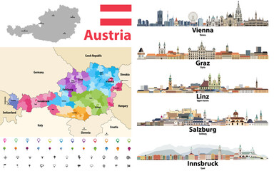 Fototapete - Austria map colored by states showing districts boundaries, with neighbouring countries. Austrian cities skylines. Flag of Austria. Navigation and location icons set. Vector illustration