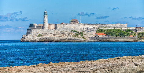 A view of the malecon lighthouse in Havana Cuba