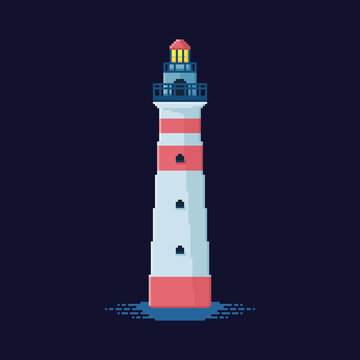 Pixel art white lighthouse with red lines 8 bit illustration sprite