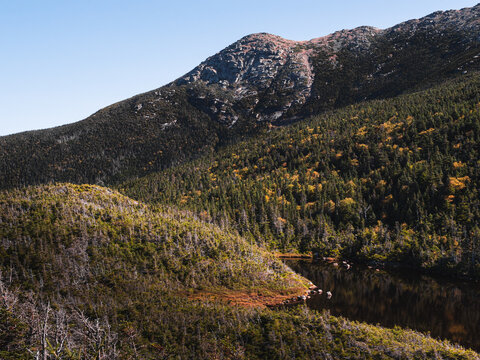In the White Mountains of New Hampshire. Looking at Eagles Lakes and the side of Mount Lafayette.