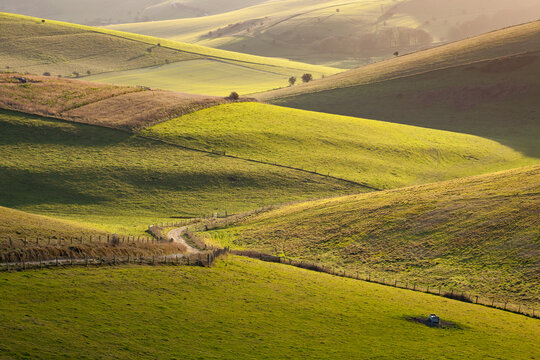 Interlocking fields of the South Downs National Park near Lewes, Sussex