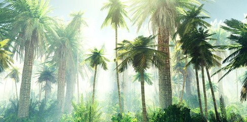 Jungle in the fog, palm trees in the morning in the haze, rays of light in the palm trees, 3D rendering