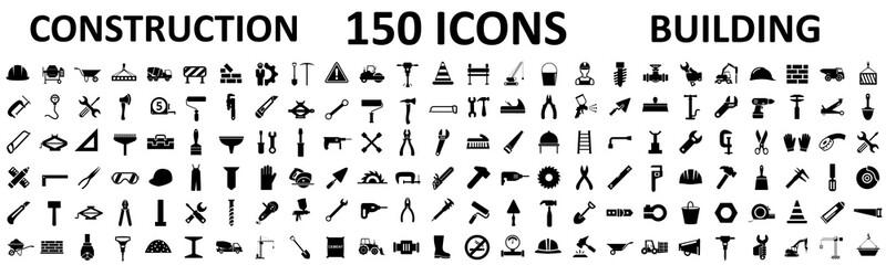 Fototapeta Set 150 construction icons, building, repair tools – stock vector