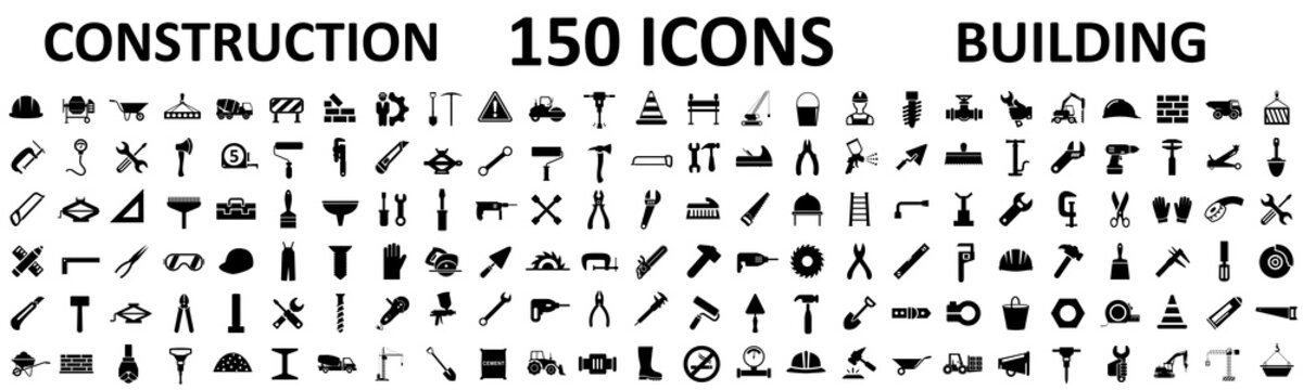 Set 150 construction icons, building, repair tools – stock vector