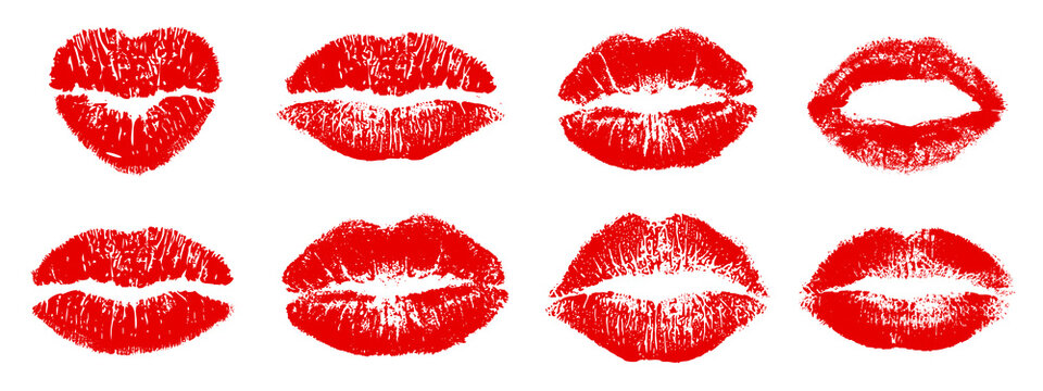 Set different imprint kiss lips – stock vector