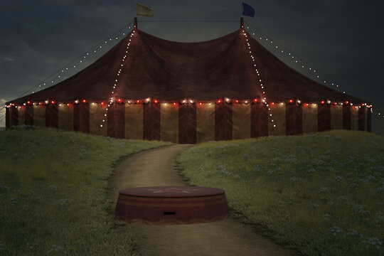 Large circus tent on a hill with a podium sitting on the path. 3d render