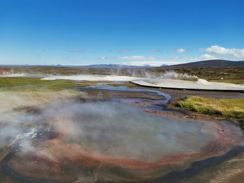 steaming vulcanic lake in the highland of iceland near route F35