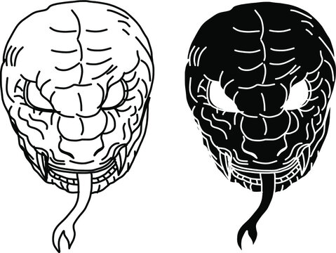 Japanese snake demon tattoo vector and  hand drawn illustration.Hand drawn Oni skull entwined by snake.japanese tattoo ; oni mask and snake tattoo.Japanese Demon mask with king cobra tattoo design.