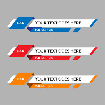 colorful lower thirds set template vector. modern, simple, clean design style. flat design with paper layer effect