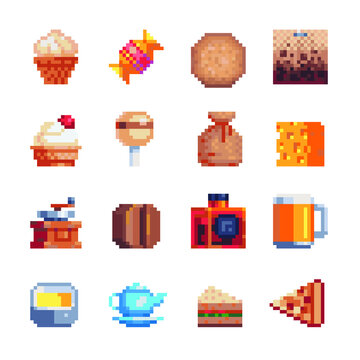 Food pixel art icon set. Baked and coffee. Design sticker, logo bakery. Ccake, candy, cookies, coffee grinder, cheese, whiskey, beer, tea, pizza and sandwich, isolated vector illustration. 8-bit.