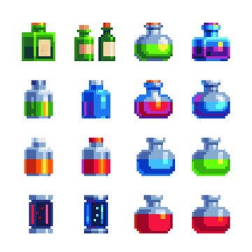 Laboratory equipment pixel art icons set. Jars, beakers and flasks isolated vector illustration. Biology science education medical. Design for stickers, logo and mobile app. Game assets 8-bit sprite.