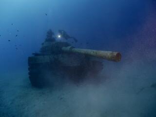 scuba diver exploring tank wreck underwater wreck dive blue water kas turkey