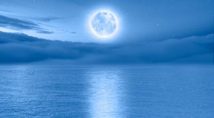 Wall Mural - Full moon rising over empty ocean at night