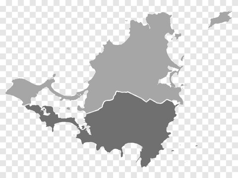 Map of Saint Martin island, France. Sint Maarten island, Netherlands. Detailed political vector map in gray  with isolated regions for your web site design, app, UI. EPS10.