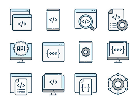 Programming and Development related vector color line icons. Web and Application Development colorful outline icon set.