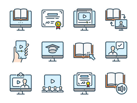 Online Education related vector color line icons. E-learning and Remote Learning colorful outline icon set.