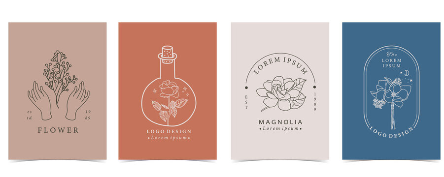 Collection of flower background set with hand, flower, lavender,magnolia,shape.Editable vector illustration for website, invitation,postcard and sticker
