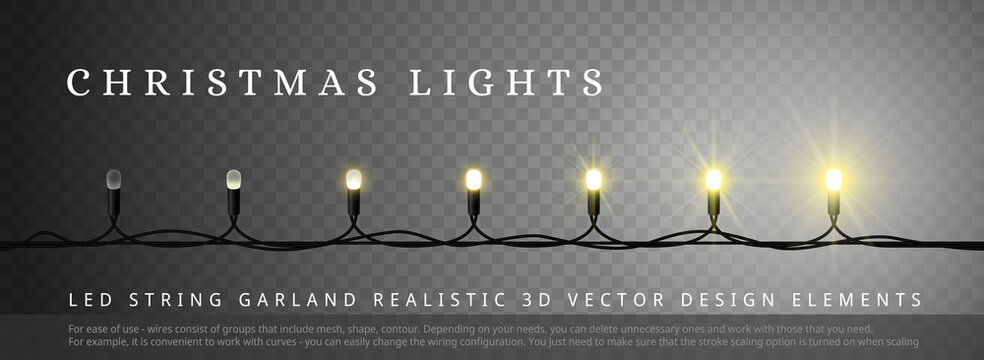 LED Christmas lights with different phase of light. Design element for Merry Christmas and Happy New Year
