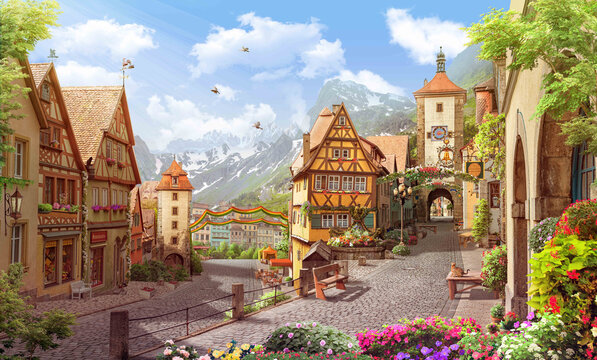 Old street in a german town wallpaper murals alpes