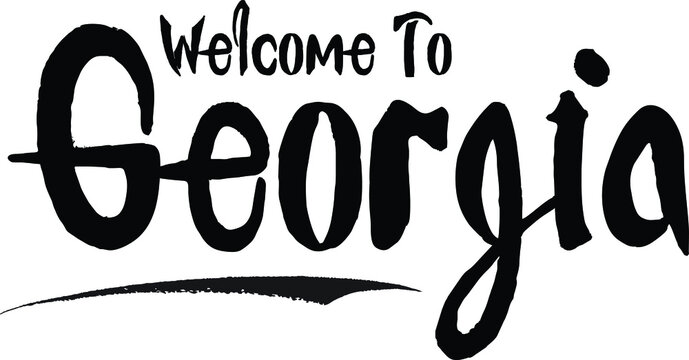 Welcome To Georgia Country Name Bold Calligraphy Black Color Text  on White Background