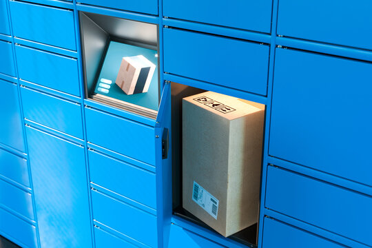 Close up Of Light Blue Self-Service Post Terminal Machine With Touchscreen Monitor and Open Locker With Parcel Inside. Parcel In Cardboard Package. 3d rendering