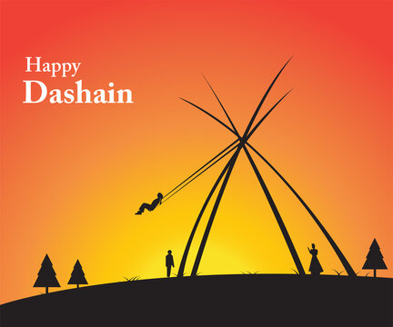 Vector illustration of peoples celebrating Dashain festival by playing swing.