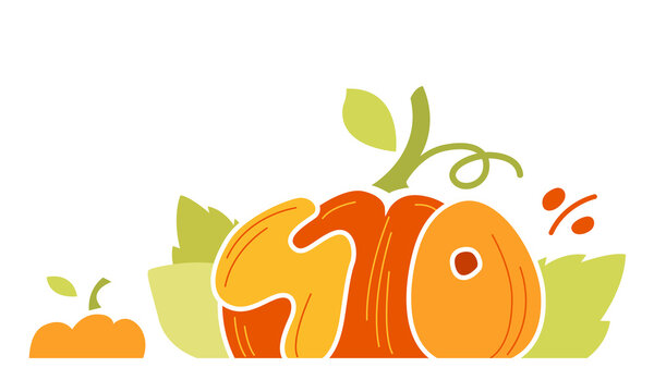 Autumn Sale discount banner. Up to 40% off banner for your website. Big Pumpkin Yellow tag templates with special offers. Isolated vector illustration.
