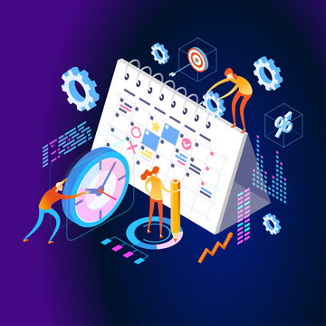 Organization and management of the workflow. Design and automation of work processes. Increase the productivity of your office. Banner template. Flat isometric vector illustration.