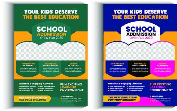 Junior School Admission Flyer Template, Kids back to school education admission flyer poster layout template