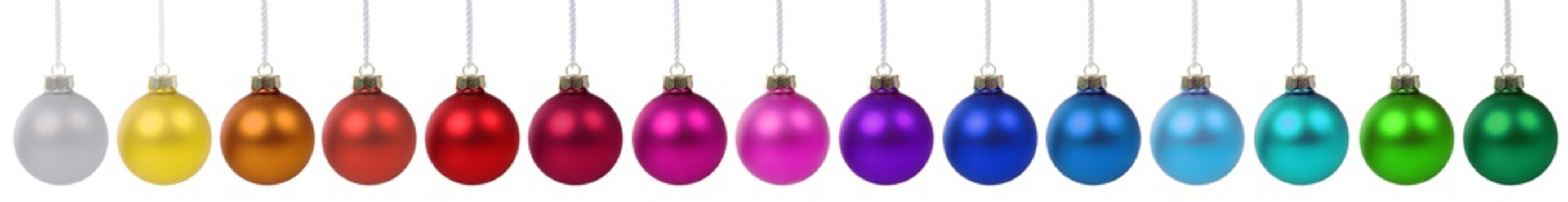 Christmas balls baubles banner ornament colorful decoration in a row isolated on white