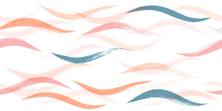 Seamless Wave Pattern, Hand drawn water sea modern vector background. Wavy beach brush stroke, curly grunge paint lines, watercolor illustration