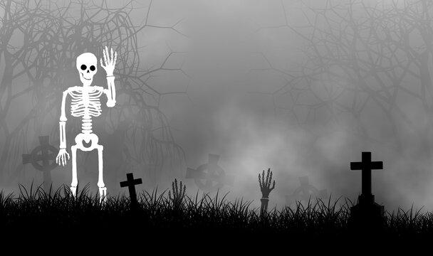 Halloween theme with skelton in graveyard