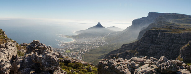 Hike to the Tranquility Crags along the Table Mountains of Cape Town, South Africa. Wall mural