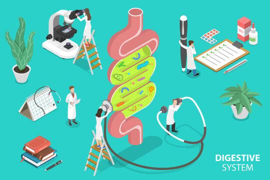 Human Gut Flora, Healthy Digestive System. 3D Isometric Flat Vector Conceptual Illustration.