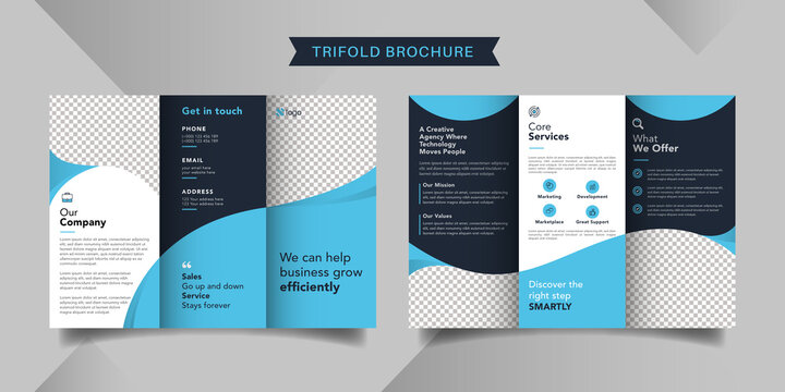 Corporate business trifold brochure template. Modern, Creative and Professional tri fold brochure vector design. Simple and minimalist promotion layout with blue color.