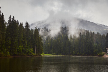 Mountain Lake Synevir in the rainy foggy summer day in Carpathian, Ukraine.  Beautiful nature...